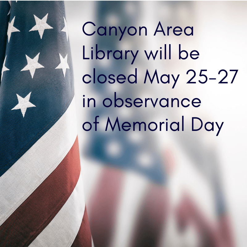 Library Memorial Day closing sign